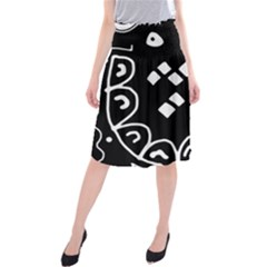 Black and white high art abstraction Midi Beach Skirt by Valentinaart