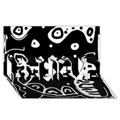 Black And White High Art Abstraction Believe 3d Greeting Card (8x4) by Valentinaart