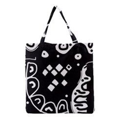 Black And White High Art Abstraction Grocery Tote Bag by Valentinaart