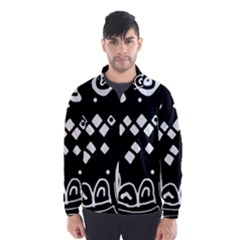Black and white high art abstraction Wind Breaker (Men) by Valentinaart