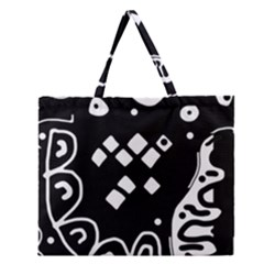 Black And White High Art Abstraction Zipper Large Tote Bag by Valentinaart
