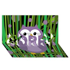 Purple Owl Sorry 3d Greeting Card (8x4)