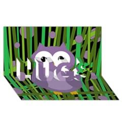 Purple Owl Hugs 3d Greeting Card (8x4) by Valentinaart