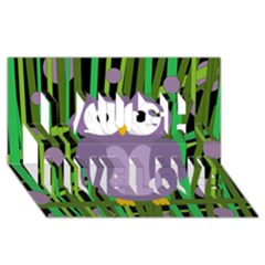 Purple Owl Laugh Live Love 3d Greeting Card (8x4) by Valentinaart