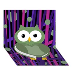 Green and purple owl Heart Bottom 3D Greeting Card (7x5) by Valentinaart