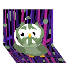 Green And Purple Owl Peace Sign 3d Greeting Card (7x5) by Valentinaart