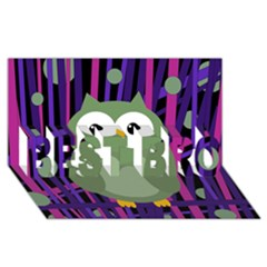 Green And Purple Owl Best Bro 3d Greeting Card (8x4) by Valentinaart