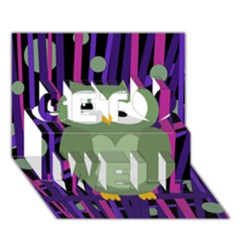 Green And Purple Owl Get Well 3d Greeting Card (7x5) by Valentinaart