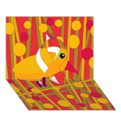 Yellow Bird Ribbon 3d Greeting Card (7x5)