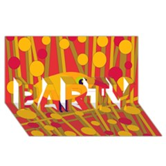 Yellow Bird Party 3d Greeting Card (8x4) by Valentinaart