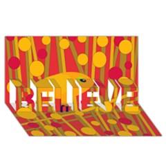 Yellow Bird Believe 3d Greeting Card (8x4) by Valentinaart