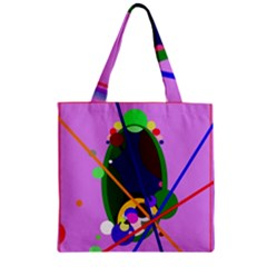 Pink Artistic Abstraction Zipper Grocery Tote Bag by Valentinaart