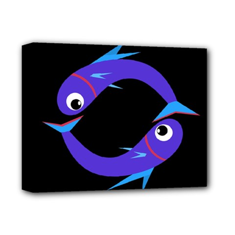 Blue Fishes Deluxe Canvas 14  X 11  by Valentinaart