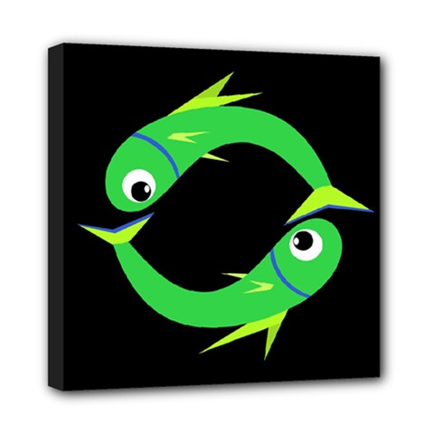Green Fishes Mini Canvas 8  X 8  by Valentinaart