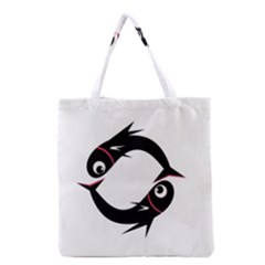 Black Fishes Grocery Tote Bag by Valentinaart