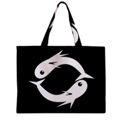 White Fishes Zipper Mini Tote Bag by Valentinaart