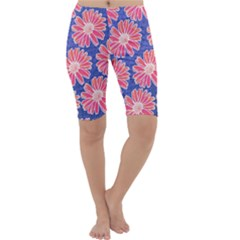 Pink Daisy Pattern Cropped Leggings