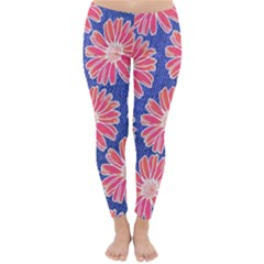 Pink Daisy Pattern Winter Leggings  by DanaeStudio