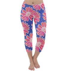 Pink Daisy Pattern Capri Winter Leggings  by DanaeStudio