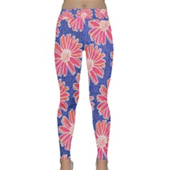 Pink Daisy Pattern Yoga Leggings