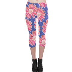Pink Daisy Pattern Capri Leggings  by DanaeStudio