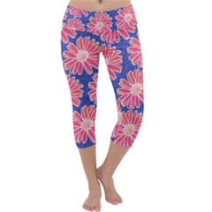 Pink Daisy Pattern Capri Yoga Leggings