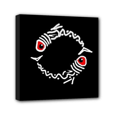 Abstract Fishes Mini Canvas 6  X 6  by Valentinaart