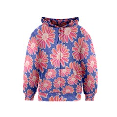 Pink Daisy Pattern Kids  Zipper Hoodie by DanaeStudio