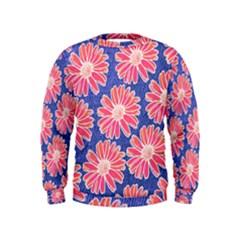 Pink Daisy Pattern Kids  Sweatshirt