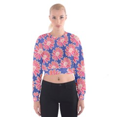 Pink Daisy Pattern Women s Cropped Sweatshirt by DanaeStudio