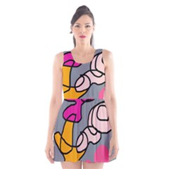 Colorful abstract design by Moma Scoop Neck Skater Dress by Valentinaart