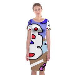 Abstract comic Classic Short Sleeve Midi Dress