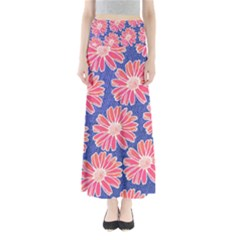 Pink Daisy Pattern Women s Maxi Skirt