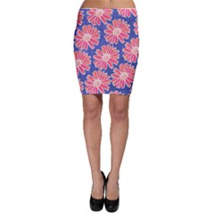 Pink Daisy Pattern Bodycon Skirt