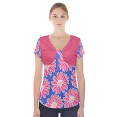 Pink Daisy Pattern Short Sleeve Front Detail Top