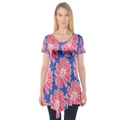 Pink Daisy Pattern Short Sleeve Tunic