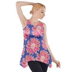 Pink Daisy Pattern Side Drop Tank Tunic