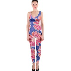 Pink Daisy Pattern Onepiece Catsuit