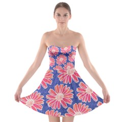 Pink Daisy Pattern Strapless Bra Top Dress