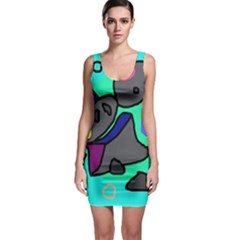 Blue Comic Abstract Sleeveless Bodycon Dress by Valentinaart