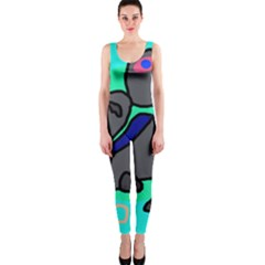 Blue Comic Abstract Onepiece Catsuit by Valentinaart
