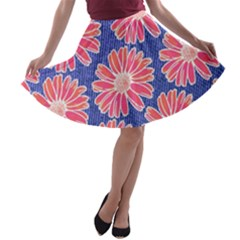 Pink Daisy Pattern A Line Skater Skirt by DanaeStudio