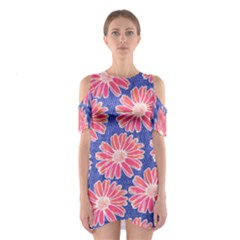 Pink Daisy Pattern Women s Cutout Shoulder One Piece