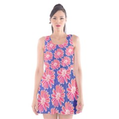 Pink Daisy Pattern Scoop Neck Skater Dress