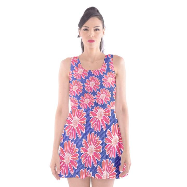 Pink Daisy Pattern Scoop Neck Skater Dress