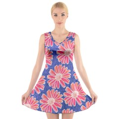 Pink Daisy Pattern V Neck Sleeveless Dress