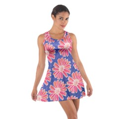 Pink Daisy Pattern Cotton Racerback Dress by DanaeStudio