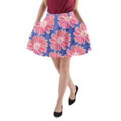 Pink Daisy Pattern A Line Pocket Skirt