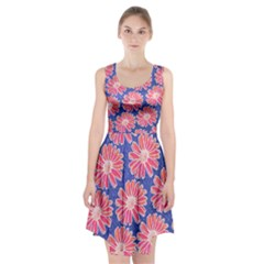 Pink Daisy Pattern Racerback Midi Dress