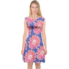 Pink Daisy Pattern Capsleeve Midi Dress